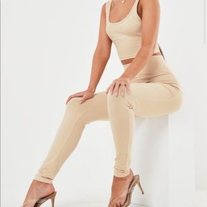 Missguided Tan Sand Fitted Skinny Leggings